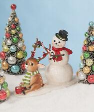 "Bethany Lowe ""Deck the Halls"" Snowman & Reindeer Figure 9"" x 11"" (TD8545)"