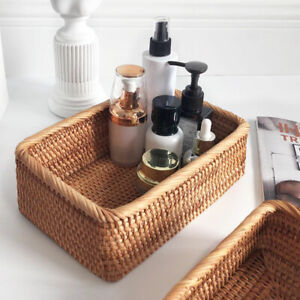 Rectangular Rattan Storage Basket Weaving Wicker Basket Bread Fruit Food Tray AU
