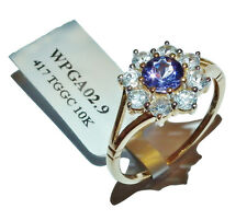 GEMPORIA 9ct Yellow Gold, AA Tanzanite & White Zircon Cluster Ring-UK Size: R1/2