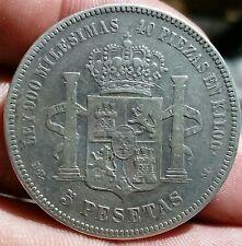 SPAIN - SILVER - 5 PESETAS DEM - KING ALFONSO XII - YEAR 1876