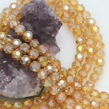 72 pcs 8mm Chinese Crystal Glass Loose Beads Round Faceted Champagne AB