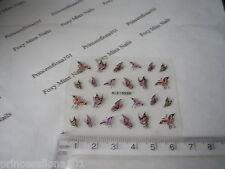 3D Nail Art Adesivi Decalcomanie Rosso Rosa Viola Farfalle Glitter Manicure B100