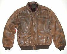 Vintage AVIREX Men's Brown Distressed Leather Type A2 US Army Air Force Jacket
