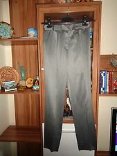 ESCADA MARGARETHA LEY GREY WOOL BLEND GABARDINE PRESSED SLIM TAPERED PANTS-S,8UK
