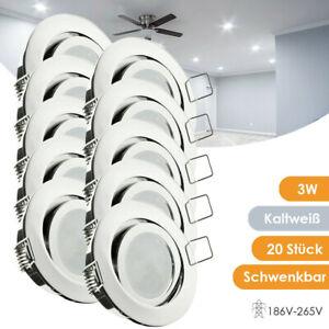 20x LED Einbaustrahler Einbau-Leuchten Lampe Decken-Spots 3W Kaltweiß Schwenkbar
