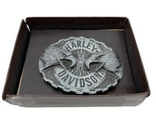 Vintage Harley Davidson Double Twin Bald Eagle Brass Belt Buckle Made In USA