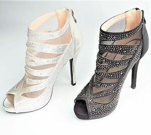 LADIES WOMEN PARTY GLITZY STONES HIGH HEEL PEEP TOE ANKLE BOOTS SHOES SIZE 3-8