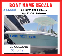 4 x LARGE 2ft BOAT NAME Custom Decals Stickers Graphics 600x150mm PERSONALISED