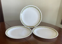 "Set of 3 Corelle Crazy Daisy/SPRING BLOSSOM Dinner Plates 10.25"" Harvest Green"