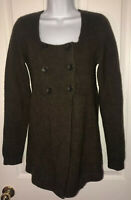 VINCE Cashmere Wool Blend 3 Button Brown Tunic Long Sleeve Sweater Sz Lg Pretty!