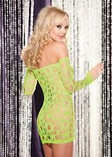 Lime Off Shoulder Long Sleeves Open Hole Mini Dress Chemise One Size SOH 90217