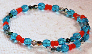 Women's Blue & Red Crystal & glass beads Single Wire wrap Bracelet. at3815