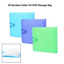 3 Pcs CD DVD Blu Ray Disc 12 Sleeves Carry Sweet Case Holder Storage Cover Bag
