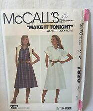 McCall's 7920 Sewing Pattern Buttoned Pullover Dress Shirtdress Sz 10 UNCUT 1982