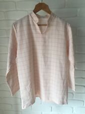Dusty Pink & Black Check Pattern 3/4 Sleeve Casual Work Top Approx Size 10