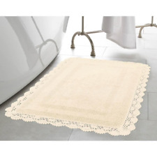 Interior Bath Rug 17 in. x 24 in. Machine Washable Reversible Woven Weave Ivory