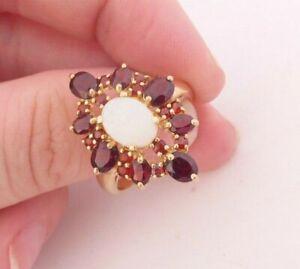 9ct gold fiery opal & garnet large cluster ring, 9k 375