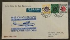 Hong Kong 1937 FFC cover KGV Stamps to USA First Flight cachet