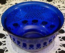 Lovely Cobalt Blue Peking Glass Bowl Original Made in China Sticker on Bottom