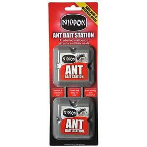 Nippon Ant Bait Station Twin Pack - Killer Pre Baited - Indoor & Outdoor Use