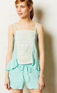 Anthropologie Top M ELOISE Camisole FENELLA Sleep Lace Gauze Cotton Peplum NIP
