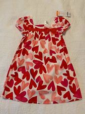 Nwt Gymboree Pink & Red Heart Dress with Red Bow and White Diaper Cover Size 3T