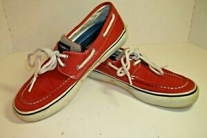 SPERRY TOP-SIDER Mens 8M Canvas Boat Shoes Red Lace Up Great Condition