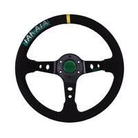 350mm Universal Fit 6 Bolt Racing Drifting Sport Steering Wheel Aluminum Black