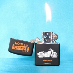 """Collectable Vintage 1980's Unbranded Iron Classic """"Blockhead"""" Lighter."""