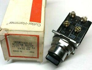 Eaton / Cutler Hammer 10250T1322-11 Selector Switch 2NO, 2NC, Black Knob. NOS