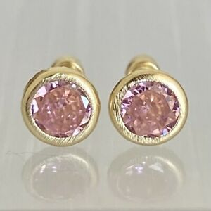 14K Genuine Gold Round Cut Bezel Stud Earrings | 6mm Diameter