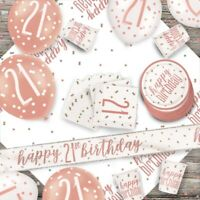 Rose Gold Glitz 21st Birthday Party Supplies Tableware, Decorations, Balloons