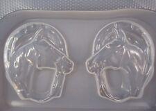 "Resin Mold Horse Heads & Horseshoe 4"" 10 cm 2 Count Chocolate Fondant Horses"