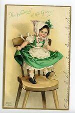 Clapsaddle Cute Girl Wearing St. Patricks Dress Antique Postcard ca. 1910s