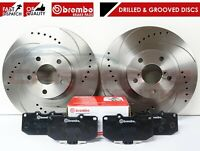 FOR SUBARU IMPREZA WRX FRONT PERFORMANCE DRILLED GROOVED BRAKE DISCS BREMBO PADS