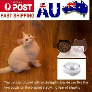 Adjustable Elevated Pet Bowl Cat Feeder Food Water Raised Lifted Stand Bowls AU