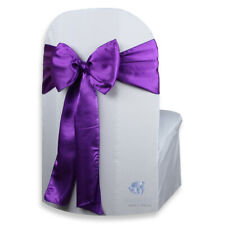 "20 pcs Satin Chair Cover Bow Sash 108""x8"" - Purple - Wedding Party Banquet ok"