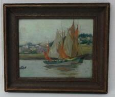 19th Century Oil on Board Impressionistic Painting Sailboats in Harbor Unsigned