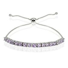 Sterling Silver 1.5ct Amethyst Adjustable Bracelet