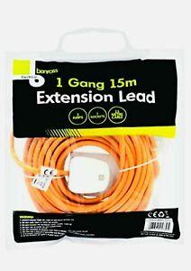 Heavy Duty Long 15M Extension Lead Mains Cable Plug Socket 1 Gang Way Orange
