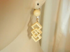Super Cute Vintage 50's Cream Celluloid Clip Earrings Modernist Artsy 124n7