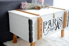 Couchtisch Truhe Holz 80 x 50 cm Landhaus Weiß Shabby Chic Beisteltisch Vintage