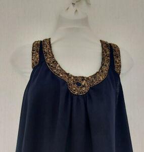 Next Dress Size 12 Grecian High Low MIDI Floaty Summer Beaded Navy Blue