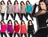 Maglia maglioncino donna tulle&strass mezze stagioni maniche lunghe nuova