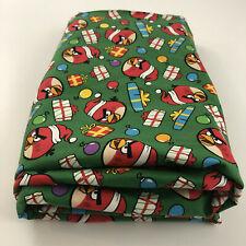Angry Bird Christmas Fabric Green Santa Birds Cotton 3+ Yards