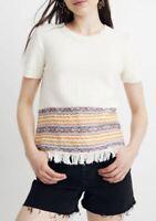 Madewell Women's Pearl Ivory Fringe Jacquard Short Sleeve Sweater XXL MSRP $75
