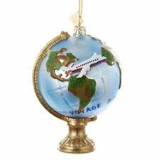 "NB1069 Noble Gems 4.5."" Travel Globe W/ Airplane Glass Christmas Ornament"