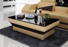 Design Glastisch Leder Couch Tisch Tische Glas Sofa Wohnzimmertische  CT9008 B b