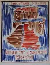 """""""EXPO ARTISANAT D'ART TOURNON 1961"""" Maquette gouache papier entoilée Jean COUPIN"""