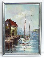 Vintage Oil Painting Boat Fishing Docks Seascape Oil Painting Signed A Simpson